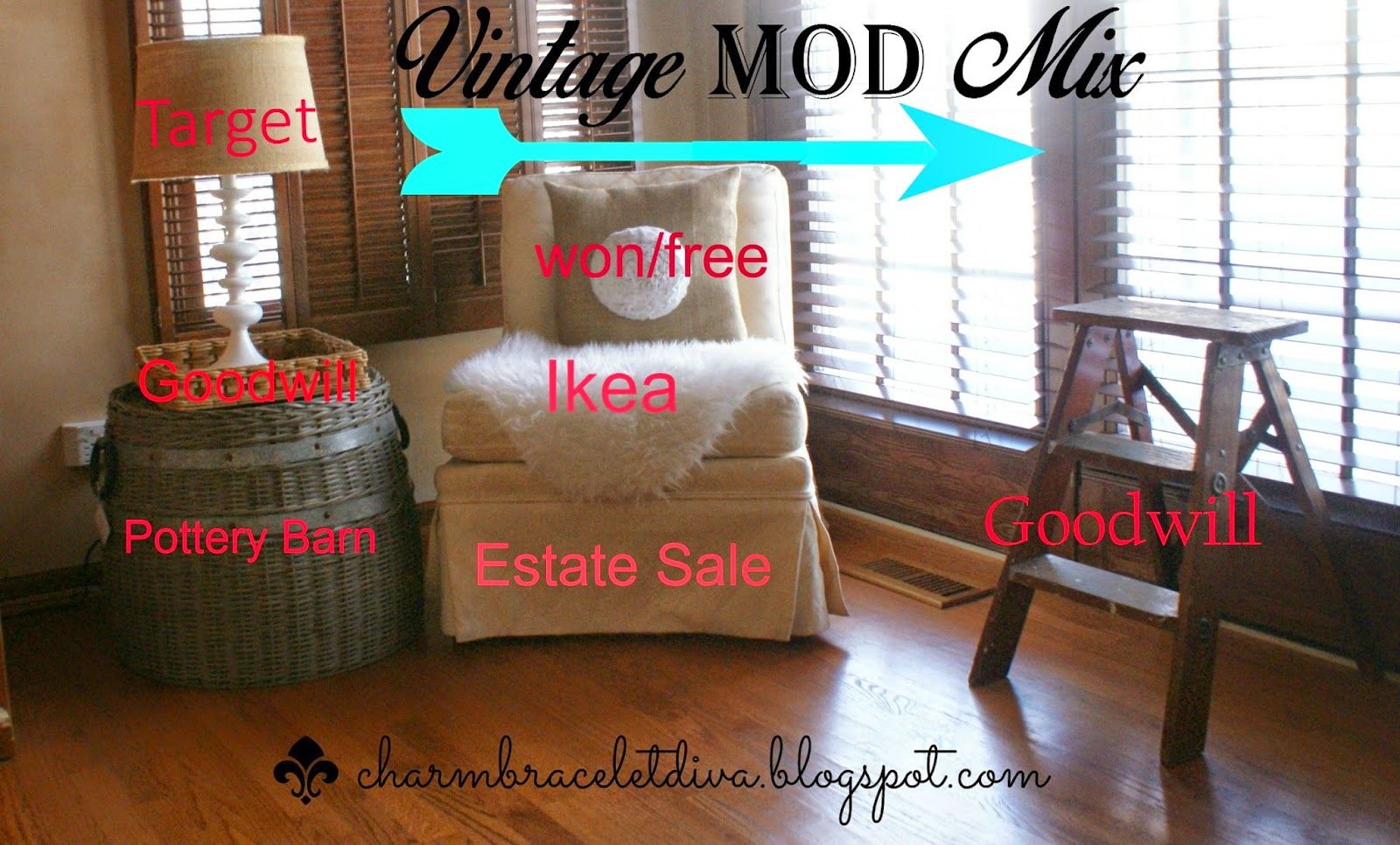 Vintage mod mix of furniture and accessories
