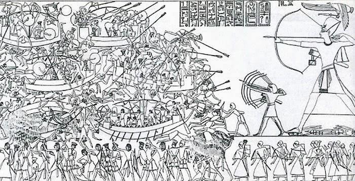 رسم يوضح تاديب رمسيس الثالث لشعوب البحر المتوسط