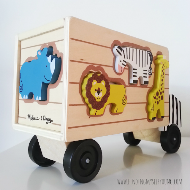 wooden junge safari truck with animals from Lucas Loves Cars