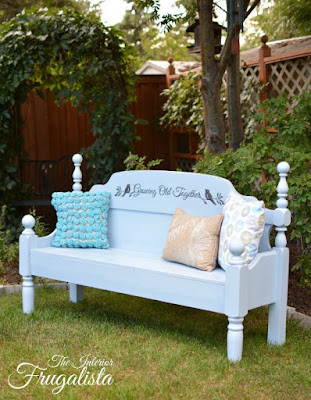 Headboard and Footboard transformed into a Garden Bench For Two