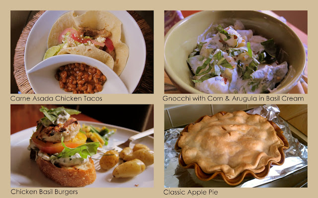 Pictures of chicken tacos, gnocchi, chicken burgers and apple pie