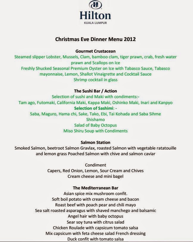 full menu for christmas eve dinner 2012 at sudu restaurant hilton hotel kuala lumpur