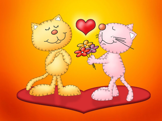 Best Jungle Life cats in love, flowers with love, cats, amazing wallpapers