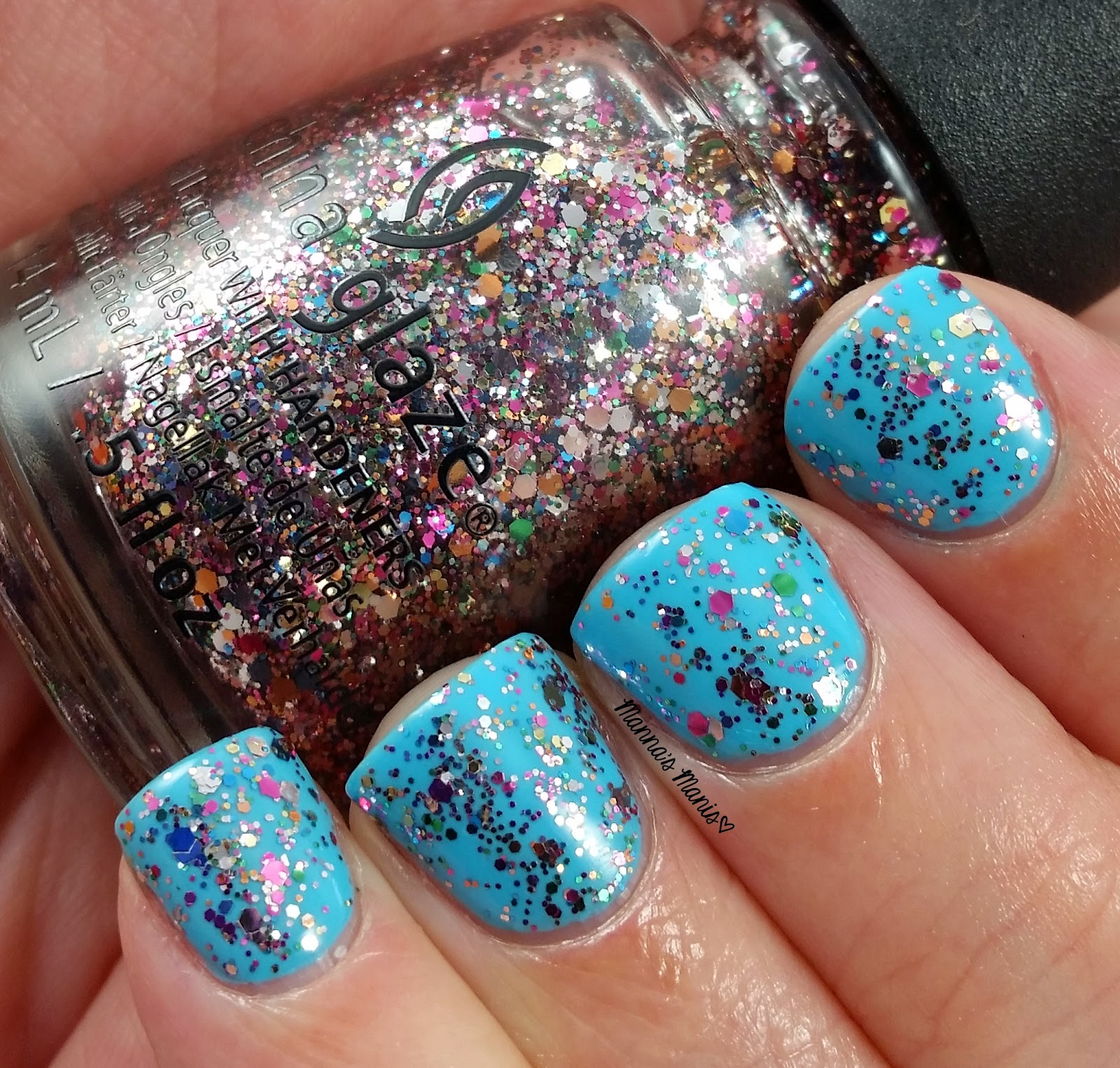 china glaze dancing and prancing, a multi colored glitter topper nail polish