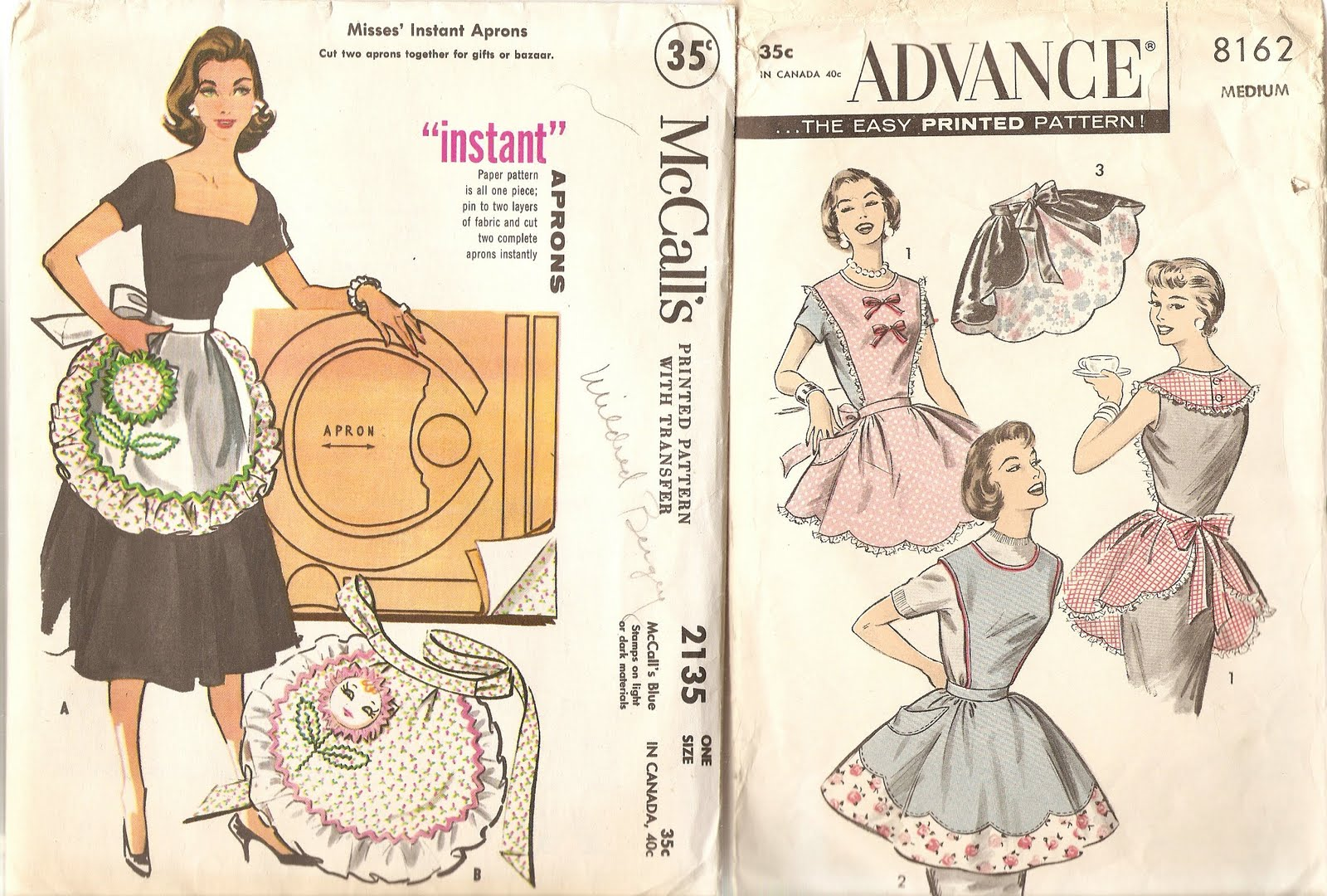 two aprons from this flirty skirty pattern 1 2 apron and full apron
