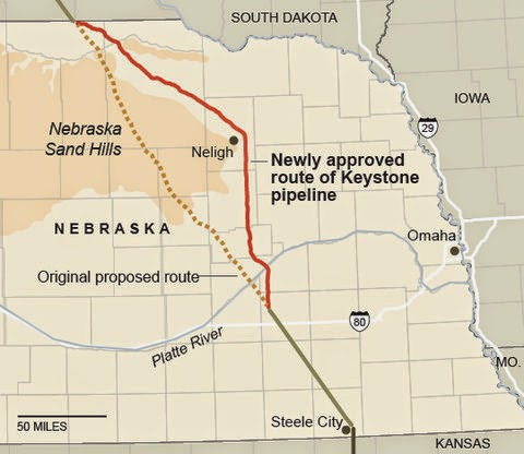 The original route (dotted line) and the revised route (in red) of the proposed Keystone XL pipeline in Nebraska. (Credit: NY Times) Click to Enlarge.