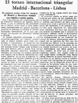 Artículo de Román Torán sobre el Torneo Triangular Internacional Madrid - Lisboa - Barcelona (parte 1)