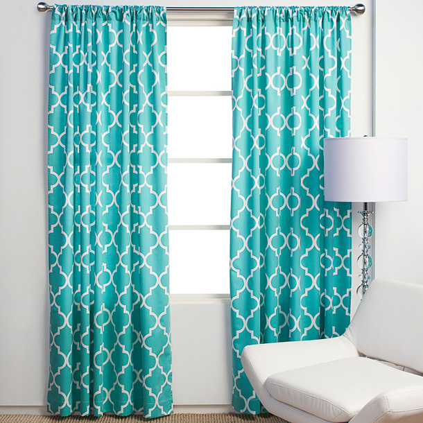Faux Silk Thermal Curtains Sand and Aqua Curtains