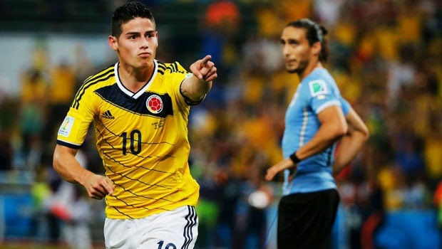"FÚTBOL Mundial Brasil 2014 -- Colombia 2-0 Uruguay. ""James Rodríguez manda a Uruguay a casa"""