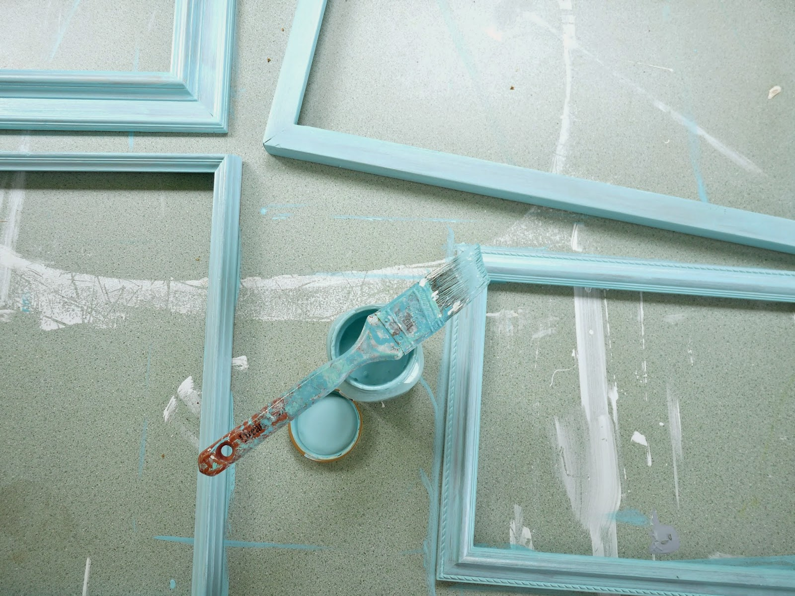 Picture frames painted mint