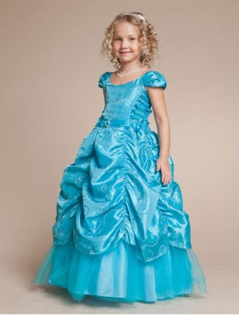 Blue Ball Gown Long Junior Bridesmaid Dress