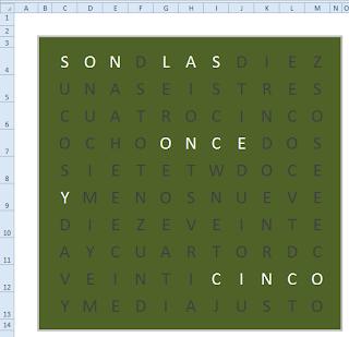 Un reloj literal en español para Excel.