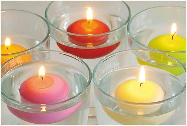 Marzua decorar con velas flotantes for Velas para decorar mesas