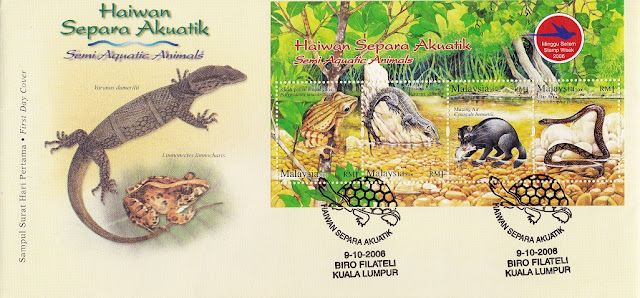 Semi Aquatic Animals Miniature sheet FDC issued by Malaysia Post