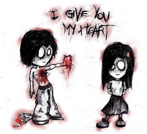 emo anime love drawings. emo love heart pictures.