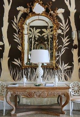 awesome brown and white modern wallpaper traditional gold mirror