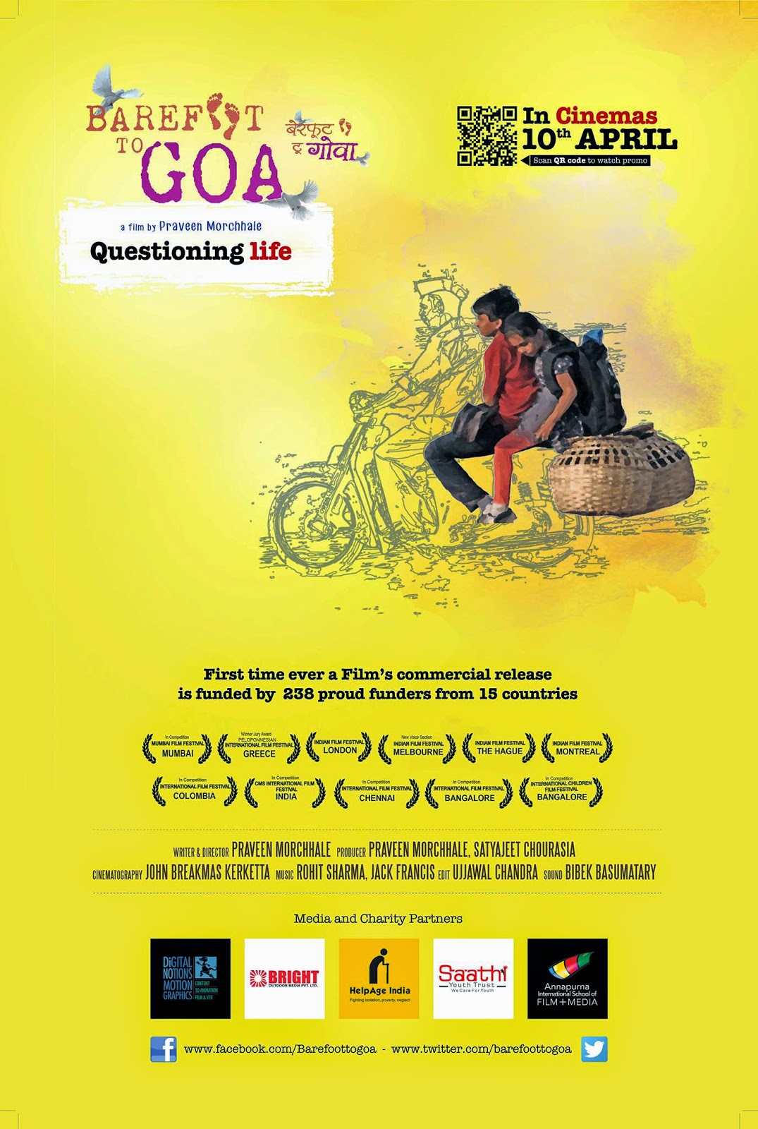 Barefoot to Goa, Official Release 10th April, Directed by Praveen Morchhale, Indie