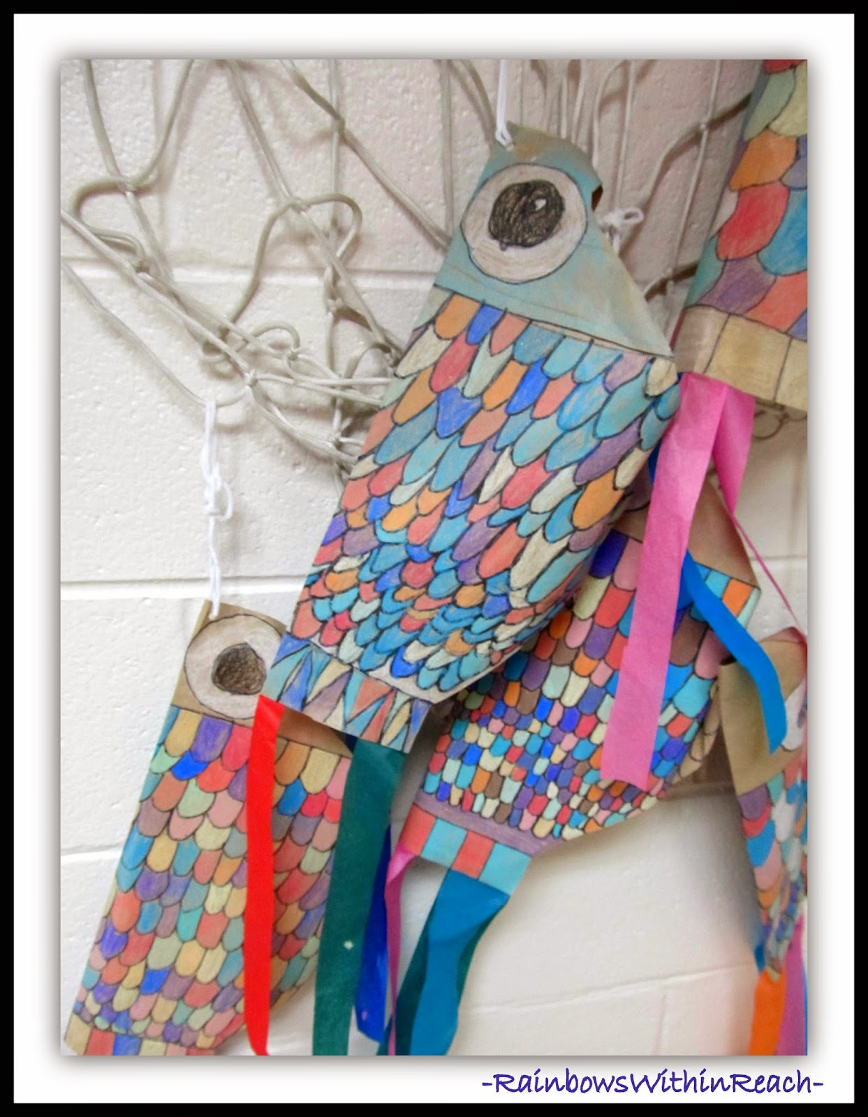 Japanese Koi Fish Kites by Third Graders {Ocean and Sea Creature RoundUP at RainbowsWithinReach}