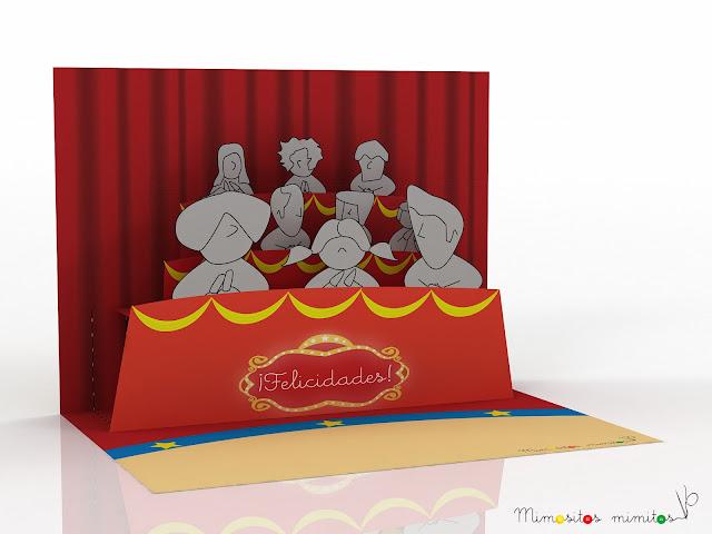 postal popup circo circus carnival imprimible descargable forzudo gratis free freebies