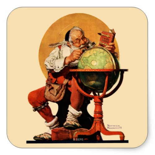 Santa at the Globe | Caricature by Norman Rockwell | Cute Christmas Sticker