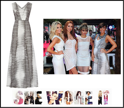 Black, Dress, Frankie Sandford, Grey, Maternity, Maxi Dress, Pregnant, Reiss, Silk, Sleeveless, The Saturdays, Thigh Spilt, V-Neck, White,