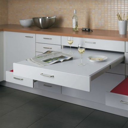 Adc l 39 atelier d 39 c t am nagement int rieur design d for Table escamotable cuisine tiroir