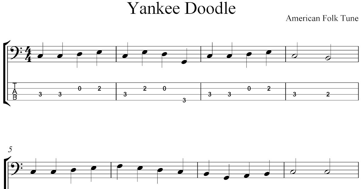 Free Printable Sheet Music: Free bass guitar tab sheet music, Yankee Doodle