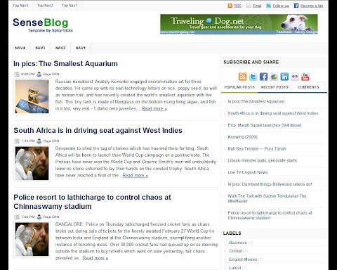 SenseBlog Blogger Theme