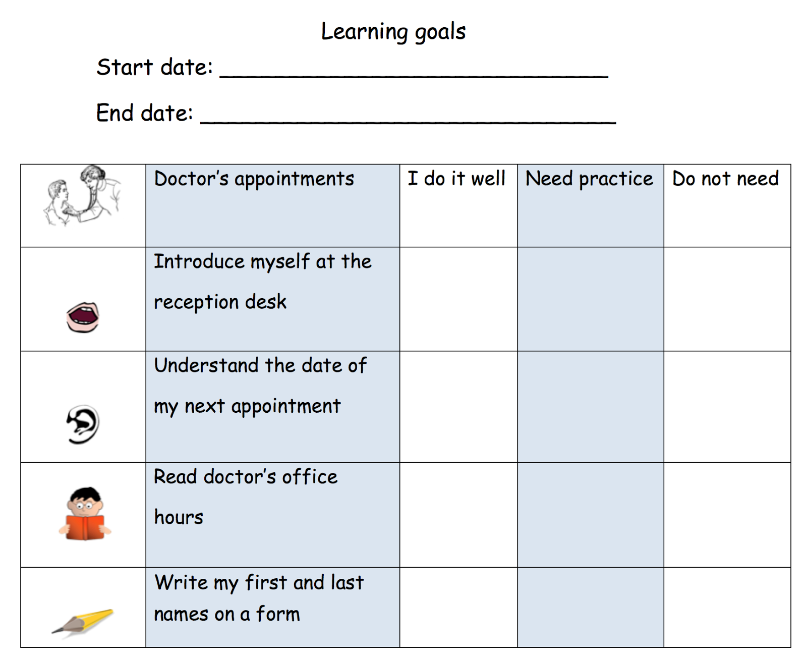 teachlearnesl goal setting for learning management in adult esl i make a small list of possible goals that are achievable short term and relevant to the learner s level of literacy and language proficiency