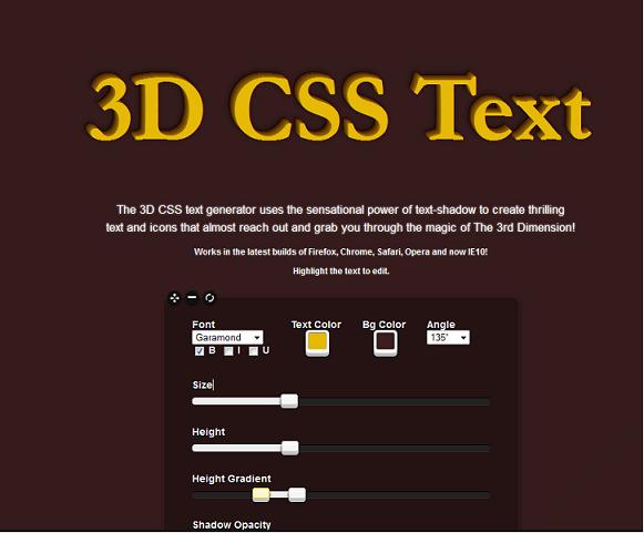 3D Text CSS Generator