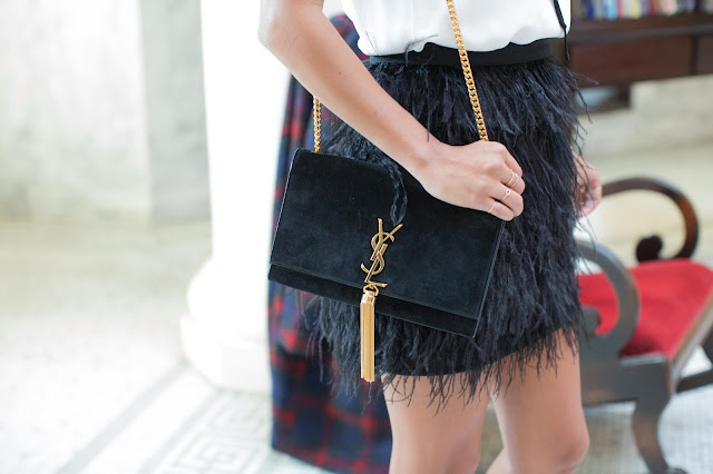 ysl crossbody bag, holiday outfit ideas, how to wear feather skirt