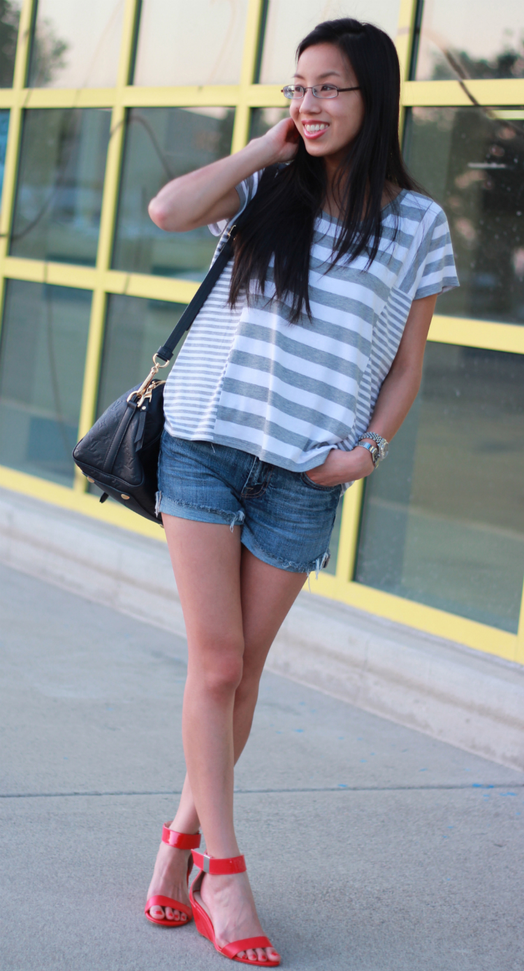 michael kors 7 for all mankind denim shorts striped tee ankle strap wedges