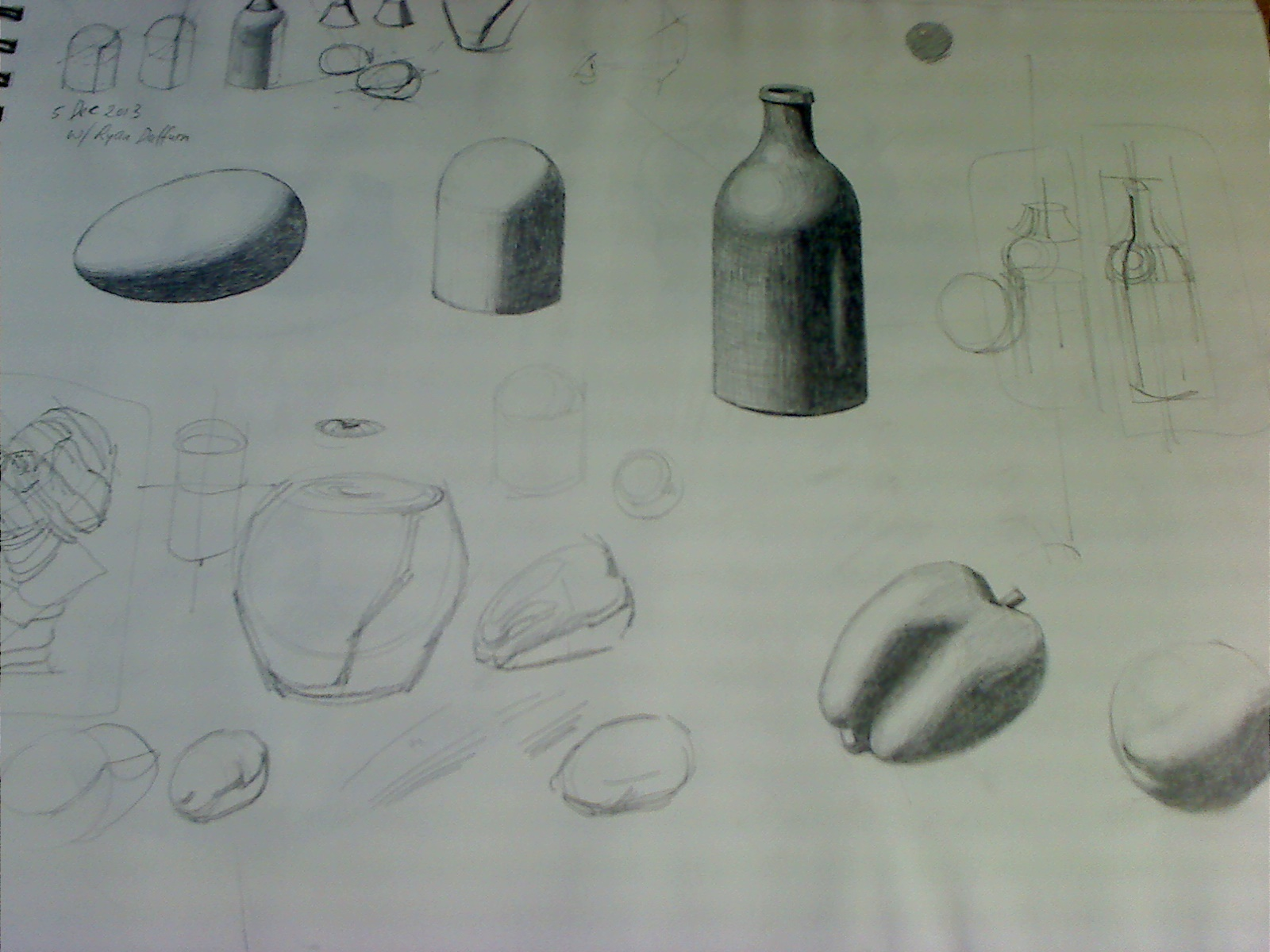 Tonal drawing studies of simple forms