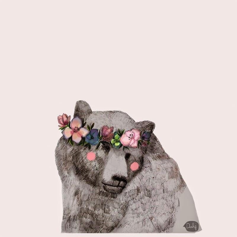 bear with flowers in hair illustration by Daniela Dahf henriquez