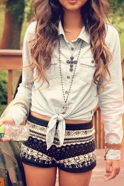 It's a combination of a summer top and a winter pattern bottom.