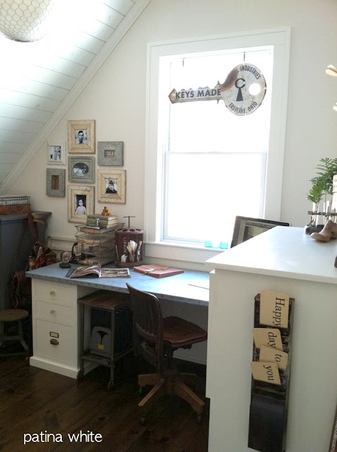 Patina White's junk styled office featured on Funky Junk Interiors