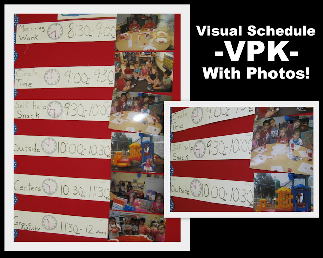 photo of: Visual schedule for preschool, Preschool day schedule with photographs