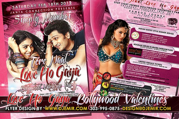 Bollywood Valentine's Day Flyer Design