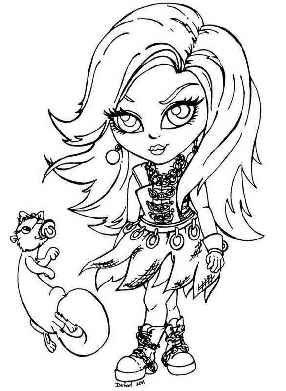 Little Girl Monster High Coloring Page