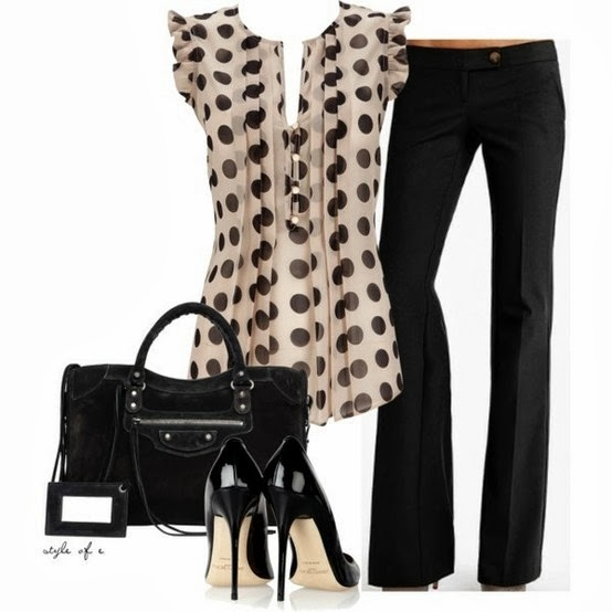 Amazing polka dot blouse, black pants, handbag and high heel sandals