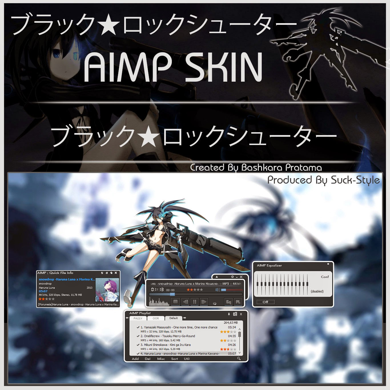 Anime AIMP Skin Black Rock Shooter Image - Suck-Style