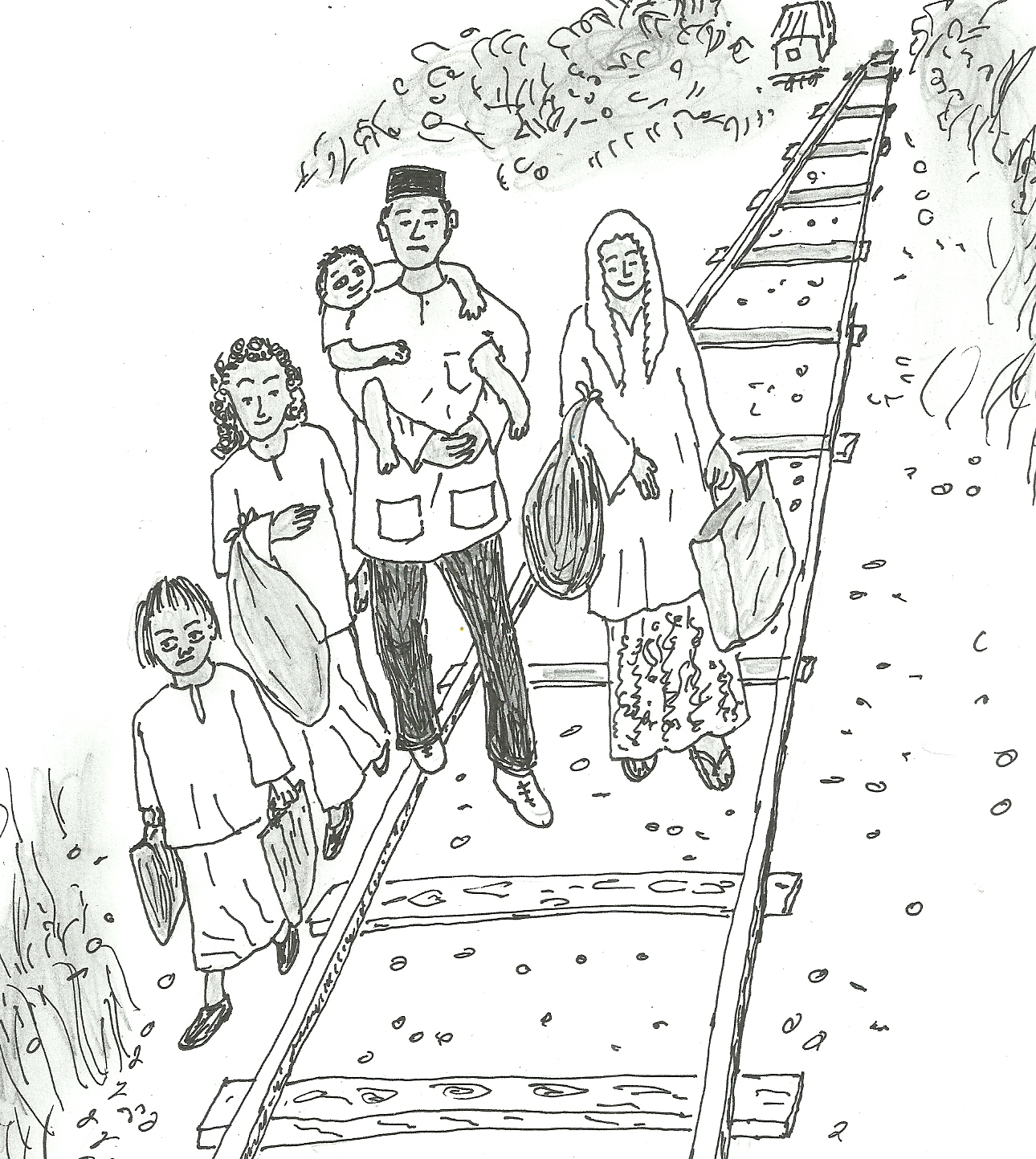 Lima beranak nekad berjalan kaki 100 kilometer melalui landasan keretapi