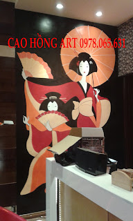 vẽ tranh tường quán trà đạo,vẽ tranh tường quán cafe