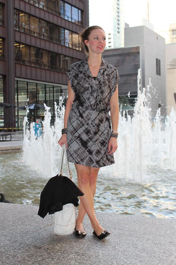 plaid drop waist dress with black flats