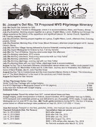 July 19 - August 3, 2016: St. Joseph Del Rio, Texas Proposed WYD Pilgrimage Itinerary