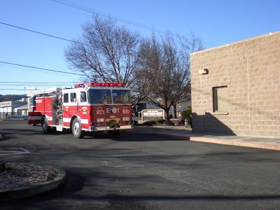 Lakeport Fire Protection District fire engine outside Lake County Record-Bee