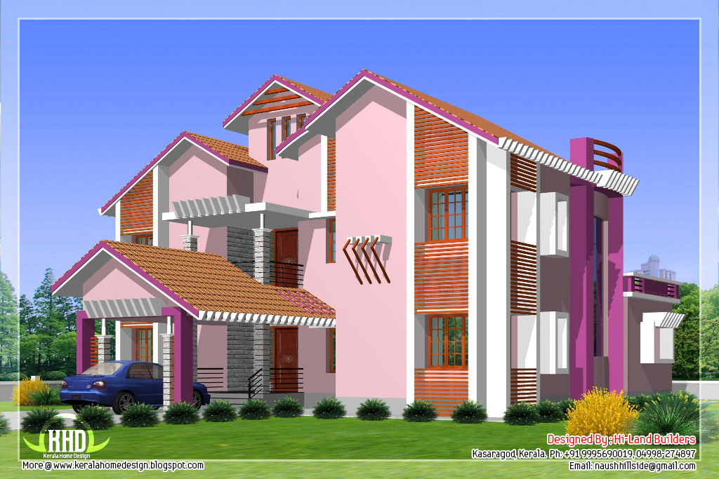 2912 5 diffrent type house designs kerala house for Different elevations of house