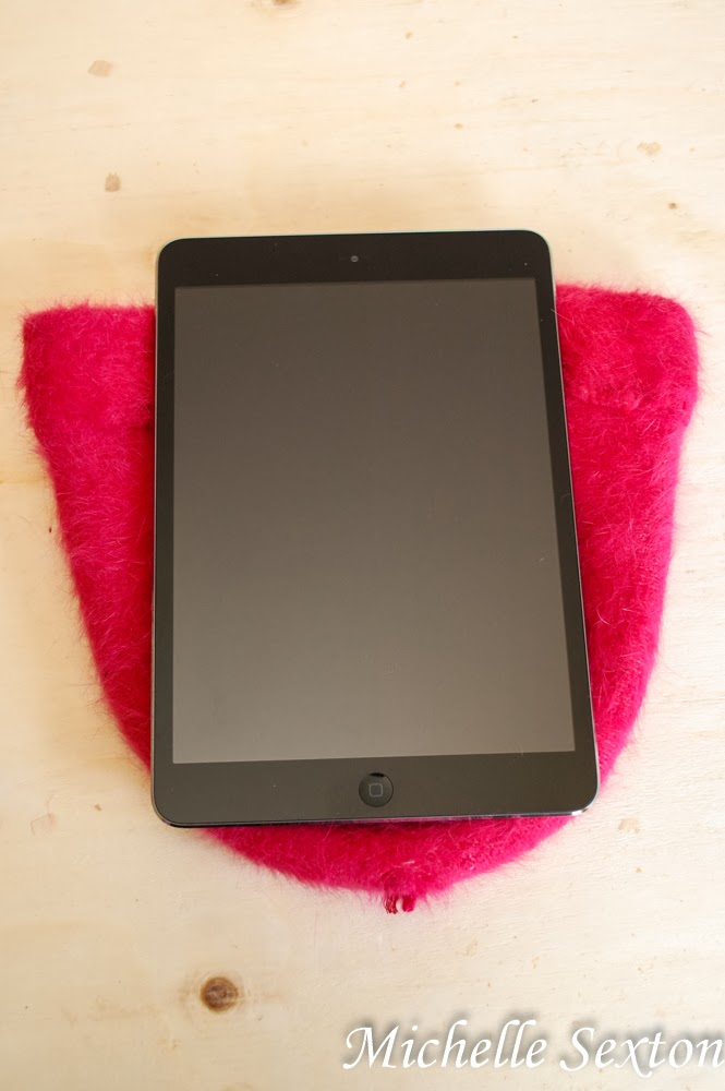 lay iPad on top of inside-out beanie