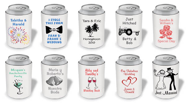 here are some designs to consider from around the web we can always create a custom koozie just for your weddingdesign can be theme based or with couples