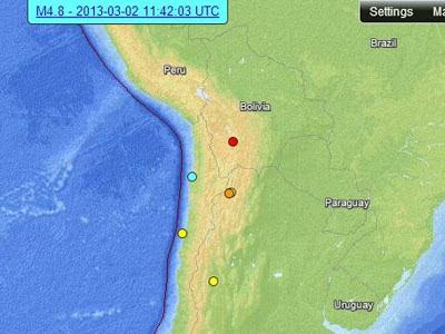 Epicentro sismo 5,1 grados Antofagasta, Chile, 02 de Marzo de 2013